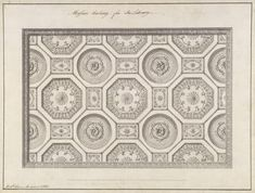 Adam, Robert (1728-1792)  One of Five Designs for the Library, 1760. Pen, ink and wash. Adam was influenced by the antique Roman mosaic pavements he had seen in Italy for this design for a ceiling. Photo: John HammondLocation:Kedleston Hall, Derbyshire, Great Britain
