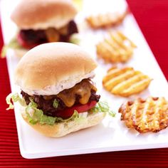 Make these restaurant-style mini burgers as a fun appetizer at your next party: http://www.recipe.com/mini-burger-party-platter/?socsrc=recpin041312miniburgers