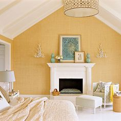 Covering walls in grasscloth wallpaper is one of the most beautiful ways to add warmth and texture to a room. Grasscloth walls are classic. Coastal Bedrooms, Coastal Living, Southern Living, Style At Home, Beach Inspired Bedroom, Home Decoracion, Sweet Home, Yellow Walls, Yellow Rooms