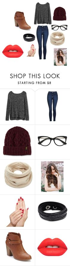 winter outfit by maya-mayaharara on Polyvore featuring Gap, Topshop, LC Lauren Conrad, Swarovski, Helmut Lang, Dr. Martens, Lime Crime and Piggy Paint