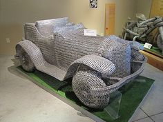Car made entirely of pull-tabs