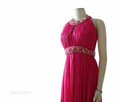 Vintage 1960s Hot Pink Evening Gown XS S  Beaded by Catbooks1940s