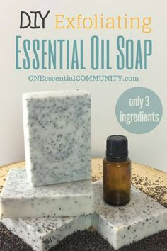 Love this!! my dry, itchy, sensitive skin has never felt better. -- Easy 3-ingredient essential oil soap that moisturizes, exfoliates, and soothes skin + FREE PRINTABLE of recipe & 25 custom EO blends