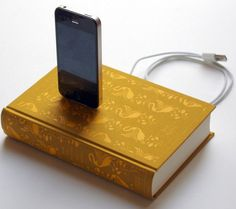 A Pride & Prejudice iPhone charging dock. Generally I dislike anything that makes a book non-readable but there are probably enough copies of P in the world that a few turned into chargers can't hurt. ...also it's my favorite color.