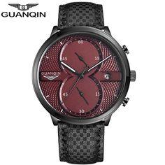 GUANQIN Mens Business Watches Top Brand Luxury guanqin Chronograph Watch Man Leather Sport Quartz Wrist Watch Men Clock Male A