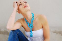 Blue statement necklace / Crochet necklace / Ceramic beads / Turquoise crochet jewelry / Ceramic jewelry /Summer necklace/ Fashion jewelry on Etsy, $108.60 AUD