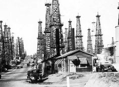 Signal Hill, CA, 1930. Oil is found in Signal Hill and Long Beach in 1921, which makes the cities flourish with new industry and an economic boom. (Signal Hill later becomes its own city, entirely surrounded by Long Beach, to avoid oil taxes.)