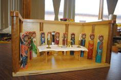 The Cenacle- Upper Room with the Apostles. Figurines painted by Theresa Nocerini, structure by Roy Emmes