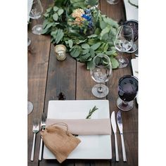 What's for dinner? Photo: with via Wedding Table Garland, Reception Decorations, Table Decorations, Tablescapes, Table Settings, Dinner, Inspiration, Home Decor, Dining