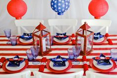 Host a star-spangled celebration with these red, white and blue tablescape ideas.