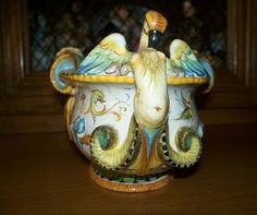 Antique Italian Cantagalli Majolica Tureen with Blue Rooster Mark from antiquecharm on Ruby Lane