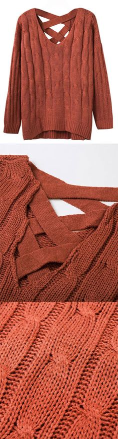 Fall Orange V-neck Cable Cross Back Knit Jumper ny Stayingsummer