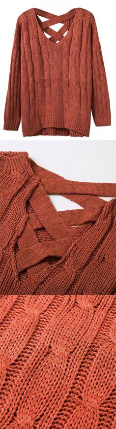 Fall Orange V-neck Cable Cross Back Knit Jumper ny Stayingsummer