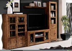 Mueble rustico salón macizo p9 Muebles Living, Home Theater Design, Living Room Remodel, Entertainment Center, Decoration, Home Remodeling, Sweet Home, Shelves, House Design