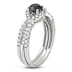 @Overstock - Black and white diamond bridal ring set14-karat white gold jewelry Click here for ring sizing guidehttp://www.overstock.com/Jewelry-Watches/Miadora-14k-Gold-1-1-3ct-TDW-Black-and-White-Diamond-Bridal-Ring-Set-G-H-I2/5808918/product.html?CID=214117 $989.99