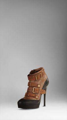 leather platform ankle boots by burberry