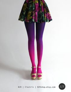 Would be awesome in purple and a light green or something.  Fabulous. BZR Ombré tights in Electric