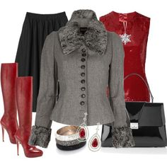 Loose skirt, red heeled boots
