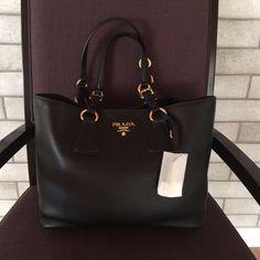 e574becf4c942 NWT PRADA 1BG043 Vitello Phenix Leather Black Shopping Tote Shoulder bag  Black  995.0