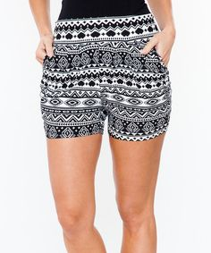 Another great find on #zulily! Black & White Geometric Pocket Shorts by White Mark #zulilyfinds