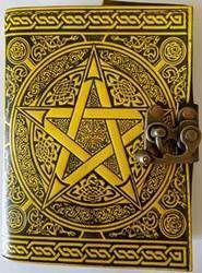 black/ yellow Pentagram leather blank book w/ latch  #missisthings #beautiful #decor #candles #home #shopaholic