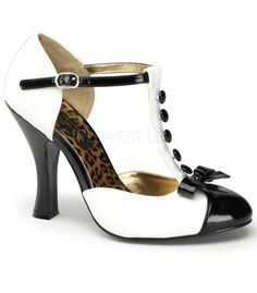 These lovely (and absolutely essential) black and white Smitten D-Orsay pumps, made by Pinup Couture, have black buttons running down along the strap with a black patent bow and patent toe front. The shoes tend to run small and are only available in whole sizes. If you're in between sizes, always order the next size up.