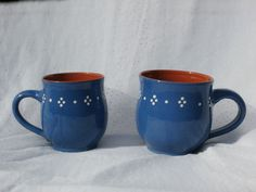 Two Blue with Flowers Mugs or Coffee Cups, Alsace Pottery Style, Marked LICH