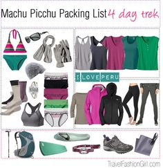 Packing list for Machu Picchu! If you're planning on trekking here check out the blog for more tips and trips!