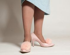 Vintage 1960s Shoes Pink Rabbit Fur Leather High Heel Bridal Fashions 1950s.