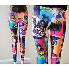 Designer Clothes, Shoes & Bags for Women Grey Trousers, Grey Pants, Batman Outfits, Tight Leggings, Grey Leggings, Pink Pants, Geek Chic, Batgirl, Colorful Leggings