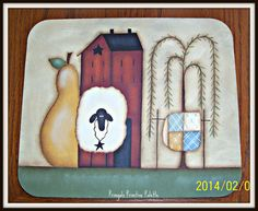 Primitive Saltbox House Sheep Pear Willow Tree Mousepad Office Home Decor on Etsy, $13.95
