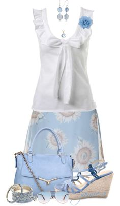 """Light Blue & White Floral"" by jaimie-a ❤ liked on Polyvore"