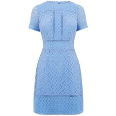 Oasis Isla lace shift dress (£46) ❤ liked on Polyvore featuring dresses, short-sleeve shift dresses, short blue dress, blue dress, lace shift dresses and short dresses