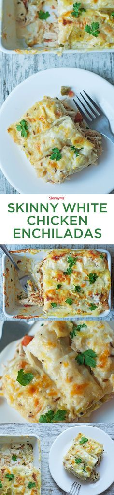 The fat content is lower in these Skinny White Chicken Enchiladas, but this recipe maintains that rich texture that makes creamy enchiladas so great!