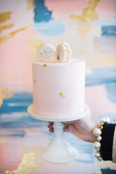 Pink and gold foiled cake