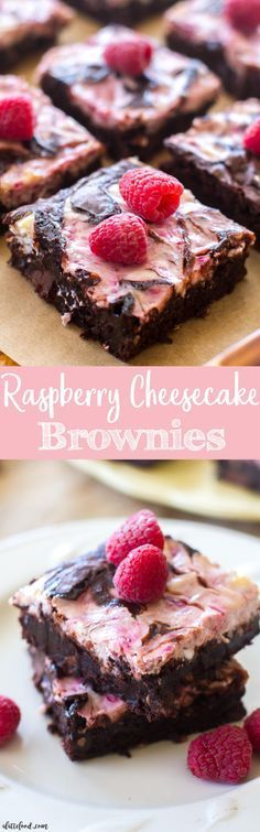 These homemade raspberry cheesecake brownies are rich, fudgy, and full of chocolate flavor! Homemade fudge brownies are swirled with raspberry cheesecake filling and baked to perfection!