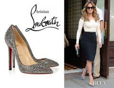 Love Jennifer Lopez outfit here. (Christian Louboutin Pigalle Crystal Embellished Pumps)