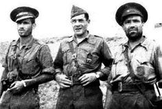 El major Victorio Castany, el cap militar García Vivancos i el comissari Sadurní Carot durant la batalla del Sillero (1938)