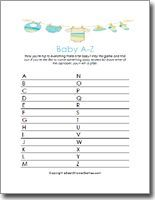 Baby Shower game a baby related word that begins with each letter of alphabet