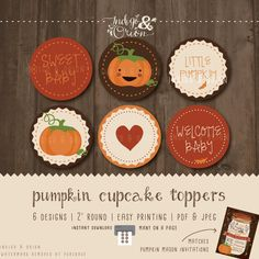 Pumpkin Cupcake Toppers fall baby shower Round tags a little pumpkin is on the way