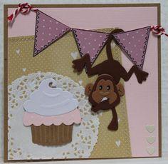 Gemaakt door Joke # kinderkaart met aapje