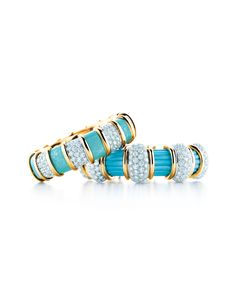 Tiffany & Co. turquoise, diamond and gold bangles, inspired by original designs by Jean Schlumberger.