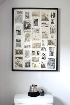vintage photo wall (black tape frames? cork board backing?)