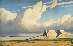 Desert Mesa 1937 by Maynard Dixon Print and Painting from Beverly A Mitchell American Art Gallery. Native American Art, American Artists, Landscape Art, Landscape Paintings, Maynard Dixon, Southwestern Art, Contemporary Abstract Art, Cool Art, Canvas Art