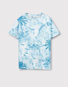 Pull&Bear - man - t-shirts - leaves printed t-shirt - off white - Pull & Bear, Pull And Bear Egypt, Pull And Bear Homme, Egypt Fashion, Bear Men, Leaf Prints, Mens Tees, T Shirt, Men Casual