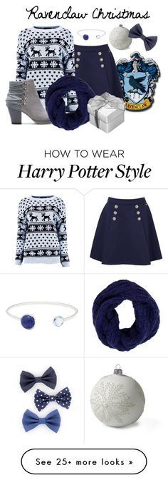 """Ravenclaw Christmas Inspired"" by starrydancer on Polyvore featuring Tommy Hilfiger, Boohoo, Lands' End, Lazuli, Tory Burch, Christmas, harrypotter, fandom, ravenclaw and HolidayParty"
