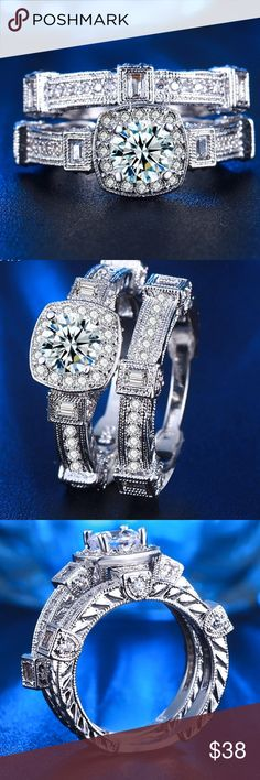 Set CZ Crystals Silver Rings Size 7 New Brand New! Set of Two Rings 💍💍 hypoallergenic, Nickel Free and great for Sensitive Skin! Top A+++ grade CZ Crystals! Bundle and Save!! 🛍🛍🛍 zdazzled Jewelry Rings