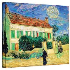 Vincent Van Gogh The White House At Night Wrapped Canvas Art, Size: 24 x 32, Blue