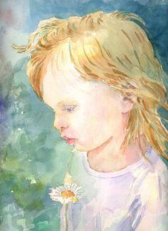 Sasha, Original Watercolor, Louise O'Donnell