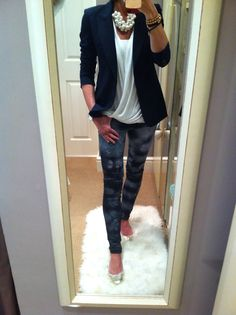 Tie dye jeans teamed with a blazer & pearls & gold ballet shoes